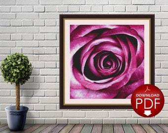 1. Purple Rose Counted Cross Stitch Pattern / Large Cross Stitch Chart / Poster Cross Stitch Flower / Floral Cross Stitch Design / PDF File