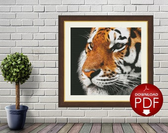 10. Tiger Counted Cross Stitch Pattern / Cross Stitch Design / Large Cross Stitch Chart / Cross Stitch Animal / Printable PDF File / CSS
