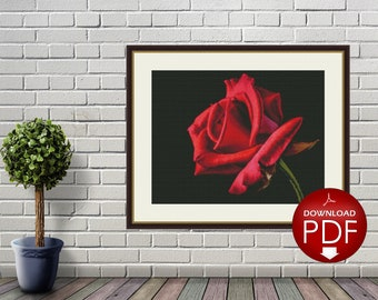 Red Rose Counted Cross Stitch Pattern - Large Cross Stitch Chart - Cross Stitch Flower - Floral Cross Stitch - PDF File