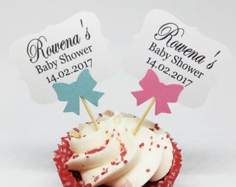 12x Personalised Cupcake Party Picks, Baptism,Baby Shower, Birthday, Naming Day Cake Topper
