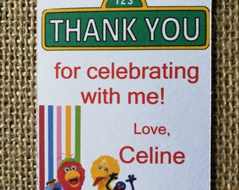 18 Sesame Street Thank You Tags, Birthday Tags, Gift Tags, Favour Tags