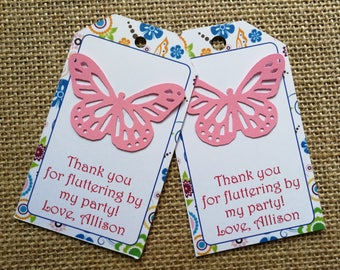 18 Butterfly Thank You Tags, Birthday Tags, Gift Tags