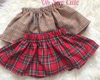 Tartan skirt, elasticated skirt, christmas skirt, christmas girls outfit, winter skirt, babys first christmas, christmas tartan, red tartan,