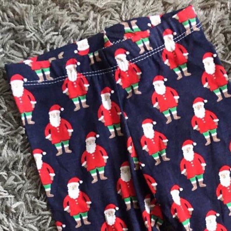 christmas santa cuffed leggings  unisex slimfit 912m first xmas navy red santa novelty