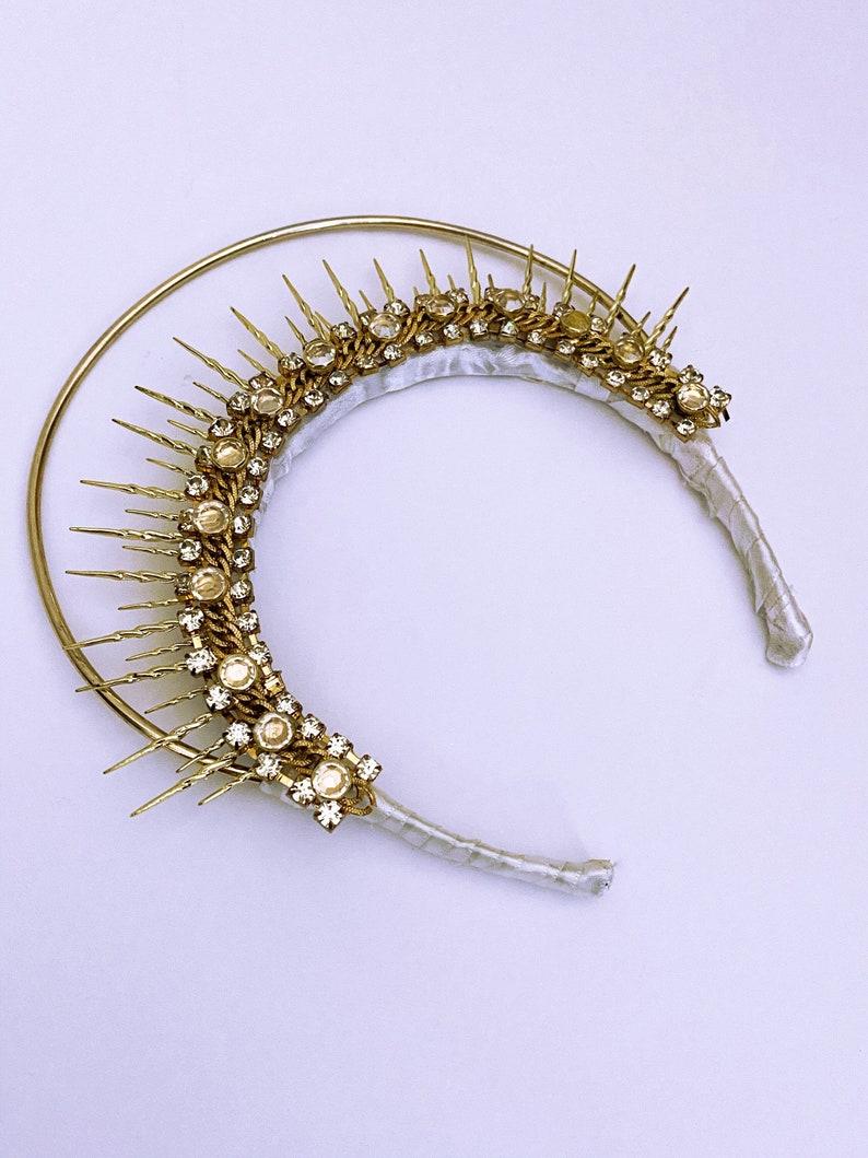Golden Sun Goddess Festival Bridal Crown Head Piece Tiara image 0