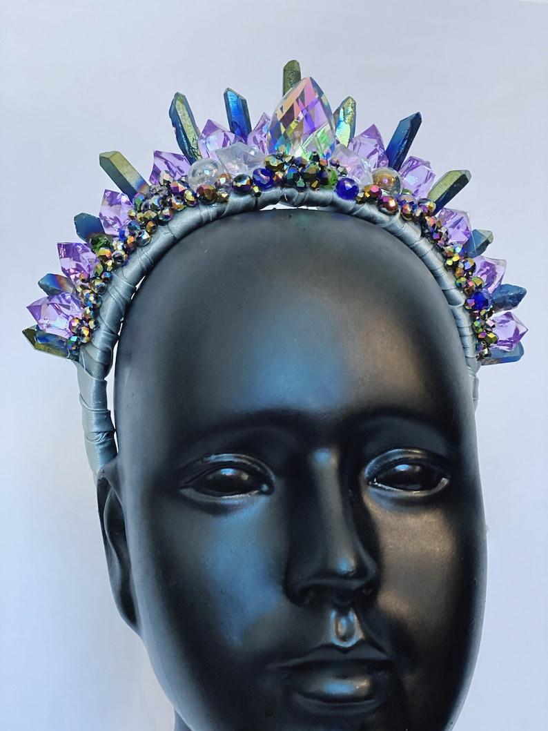 Crystal Tiara Crown Moon Stone Goddess Quartz Queen Bridal image 0