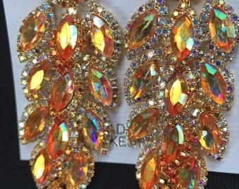 Irredescent Orange Chandelier Pierced Earrings
