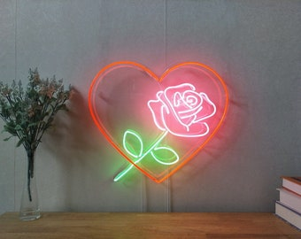 Love Heart Rose Neon Sign For Living Room Bedroom Home Decor Personalised  Handmade Artwork Dimmable Wall Light 290