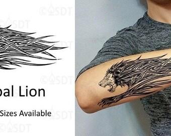 010434b7f Tribal Lion Temporary Tattoo