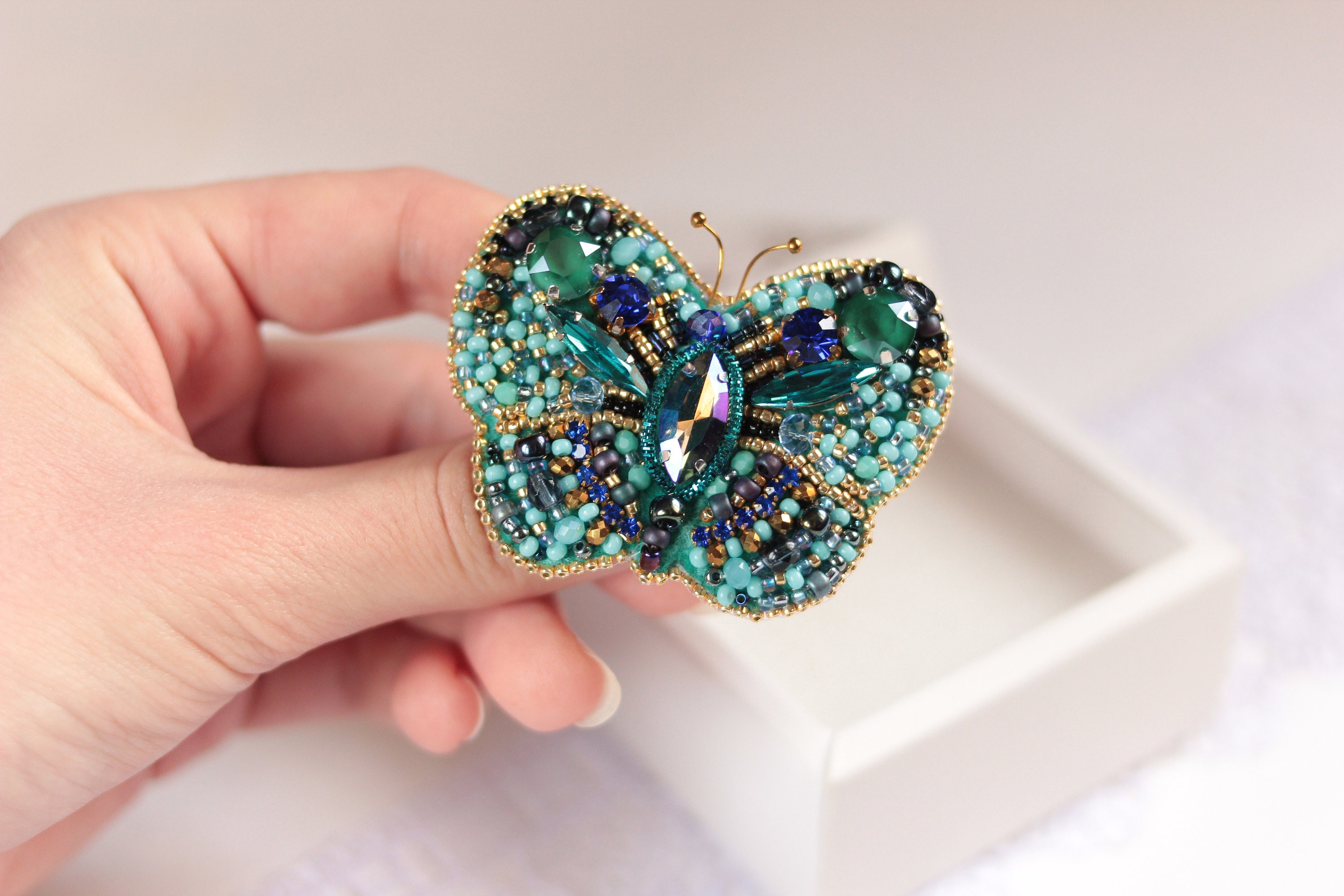 4fd25435b73 Embroidery butterfly brooch Crystal Insect jewelry Beaded | Etsy