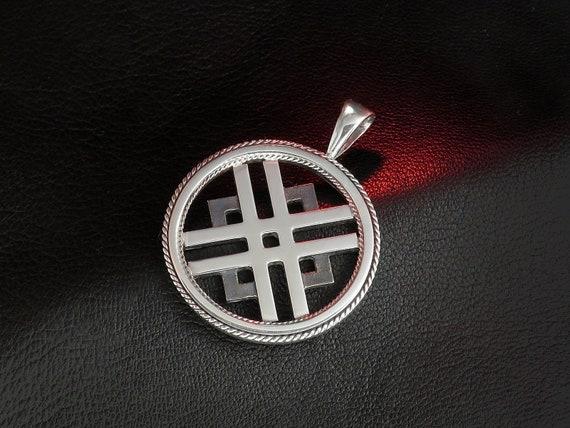 Baltische antike Zeichen Anhänger Eiche und Sonne, baltischen Schmuck, Sterling Silber, einzigartiges Geschenk