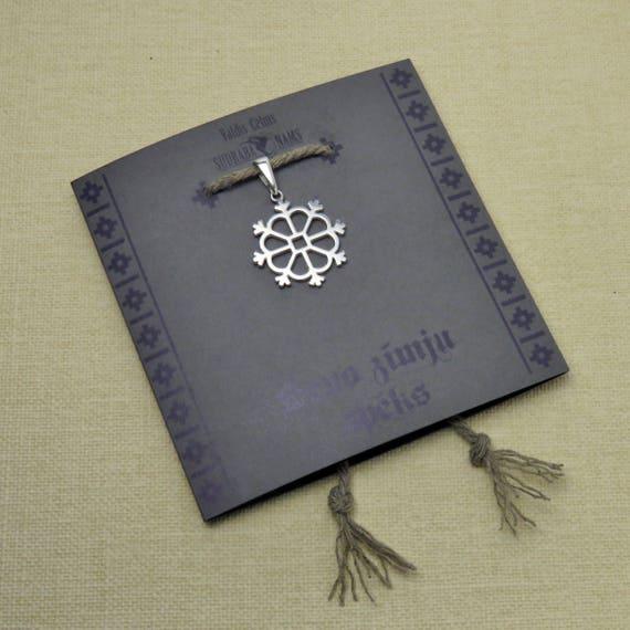Sonne Anhänger Halskette, lettische alte Zeichen Schmuck, baltischen Schmuck