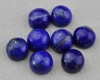 Lapis Lazuli Gemstone Cabochon 10 Pcs Wholesale #WLLP6 Lapis Lazuli Cabochons- Natural Lapis Faceted Rose Cut Oval Cabochon 5x7 MM