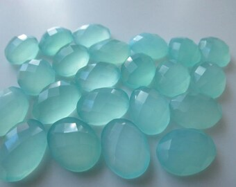Lot Of Stunning AAA Quality 10 Pieces Natural Aqua Chalcedony 15x20 MM Oval Rose Cut Loose Gemstone .