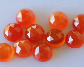 10 pieces orange carnelian square shape cabochon natural gemstone calibrated size