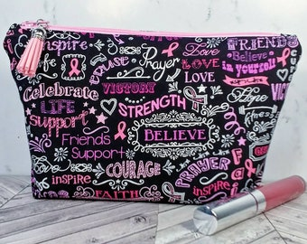 toiletry bag, cosmetic bag in black and pink, breast cancer toiletry bag, mothers day gift, gift for her, black and pink bag, travel bag