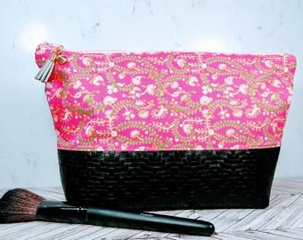 Vegan Leather Cosmetic Bag / Blue Makeup Bag / Leather Makeup Bag / Leather Toiletry Bag / Pink Floral / Travel Bag for her / Spring Bag
