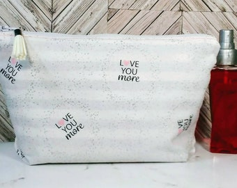 white makeup bag, white bridal clutch, white and pink bag, bridal bag, bridal party, small cosmetic bag, cosmetic clutch, wedding clutch