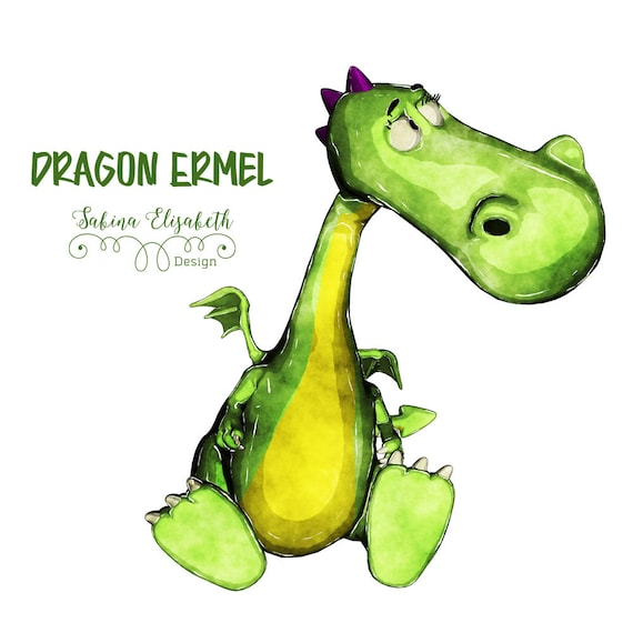 Dragon Ermel 4 Bright Green Watercolor Clipart Baby Child Fun Craft
