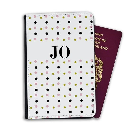 Teal Circles /& Stripes Vinyl Passport Holder Personalized