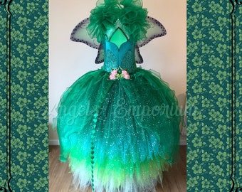 73cd65ef6 The Woodland Green Fairy Queen Tutu Dress Magical Emerald Poison Ivy  Pageant Adult Costume Ball Gown Wings Ombre Graduated Pixie Cut Sparkly