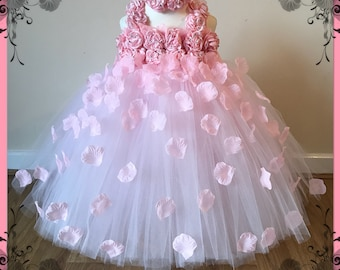 55d89b954b35 Beautiful Baby Pink Pale Pink Light Pink Flower Girl Tutu Dress Embellished  with Petals. Bridesmaids Weddings Christening Special Occasions.