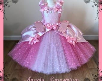 2a3c0a8f2 Luxury Pink Princess Cinderella Aurora Costume Tutu Dress Satin Ball Gown  Pageant Party Pink Glitter Long Sparkly Skirt With Gloves