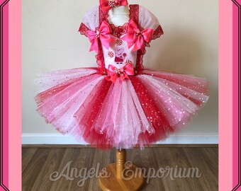 67d938091056 Peppa Pig Inspired Tutu Dress Pink And Red Party Pageant Birthday Princess  Character Costume Sparkly Glitter Lollipop Candy