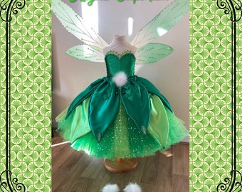 5297c1e1b Luxury Tinkerbell Inspired Tutu Dress Emerald Green Woodland Fairy Princess  Costume Wings Pom Poms Tink Cosplay Ball Gown Satin Leaf Skirt