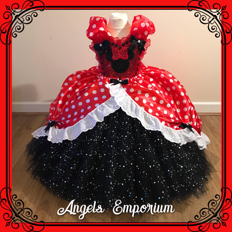 64f0b2076af0 Minnie Mouse Birthday Party Princess Tutu Dress Satin Ball