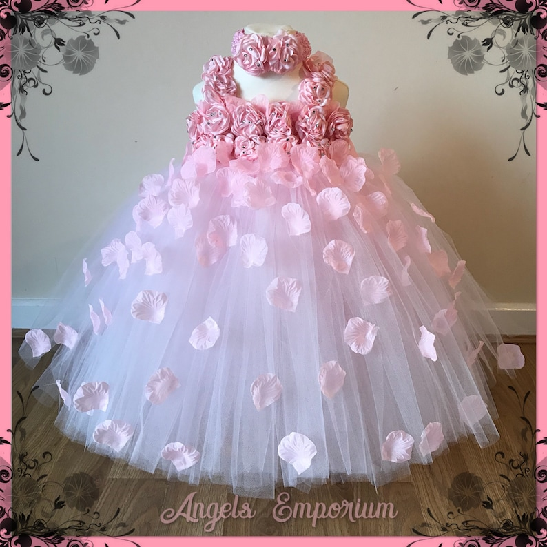 Beautiful Baby Pink Pale Pink Light Pink Flower Girl Tutu image 0