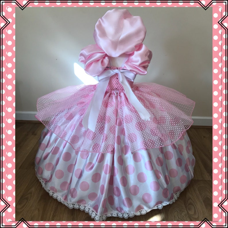 Little BO PEEP Tutu Dress Toy Story Costume Baby Pink Polka Dot Princess Satin Ball Gown Pioneer Bonnet Pageant Birthday Party Halloween