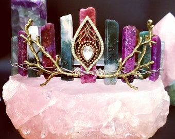 CUSTOMIZE Your Own Flat Cut Genuine Gemstone Crystal Crown w/ Centerpiece & Branches!