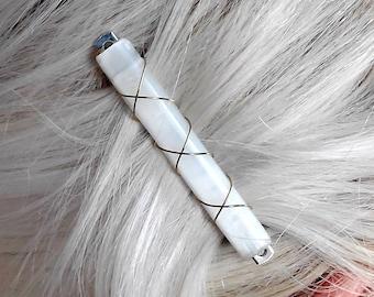 Selenite Satin Spar Crystal Barette Hair Clip