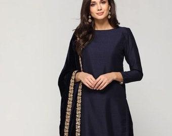 6ff07e204d2439 navy blue silk kameez short length custom made dress punjabi suit fitted  pant chiffon dupatta indian womens party wear dresses custom made