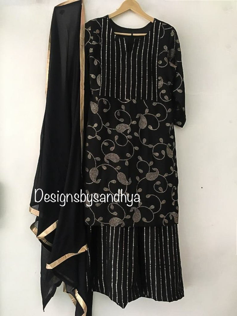 Black mukesh work georgette short kameez flaired plazzo dress indian wedding for women dresses pakistani clothes Anarkali sharara suits