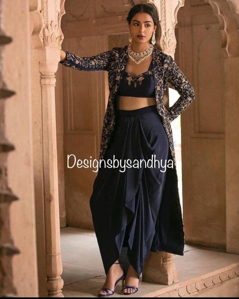 f11f73e955 Velvet blue embroidery cape silk blouse drape skirt lehenga | Etsy