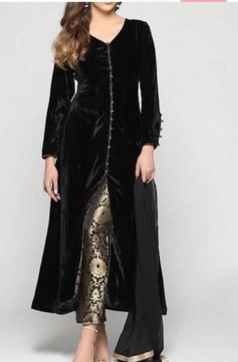 black velvet long kameez custom made dress punjabi suit fitted image 0