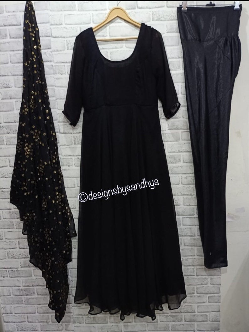 Black flaired anarkali ethnic gown readymade dress with Mukesh work chiffon dupatta indian womens party wedding clothes plus size available