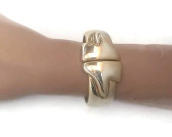 Vintage Gold Tone Clamper Bracelet
