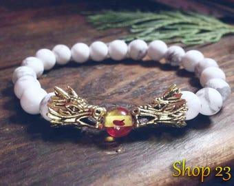 Gemstone Bracelet - Dragon Bracelet - Beaded Bracelet - White Howlite Bracelet - Gift Bracelet - Gold Dragon Head Bracelet - Dragon Ball