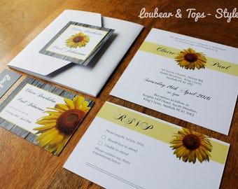 Sunflower Wedding Invitations, Modern Wedding Invites, Unique Invites, Summer wedding