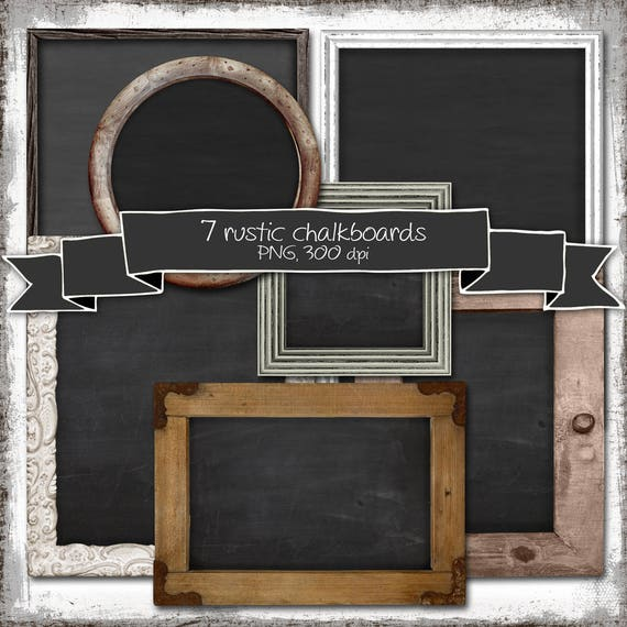 Kit Of 7 Rustic Chalkboard Cliparts Background