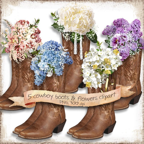 Country Wedding Clipart For DIY Invitations Cowboy Boots