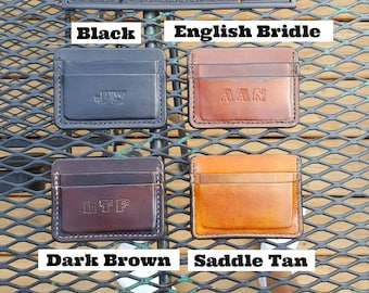 3 pockets, no folds. Can be made horizontal (shown in pictures) or vertical. Name, initials, or a word or 2 can be put on the front.
