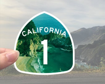 Shiny California Highway 1 sticker - Pacific Coast Highway - PCH - Mcway Falls