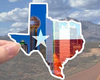 Texas State Sticker - Waterproof sticker - Lone Star State - Downtown Dallas - Dallas skyline - Texas flag