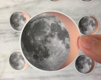 Shiny Rose Gold Moon Sticker - moon phases sticker - copper moon sticker