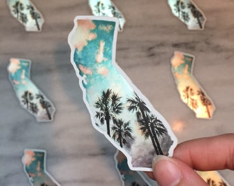 Shiny California Sticker - sunset palm trees silhouette sticker - state sticker - metallic sticker - reflective