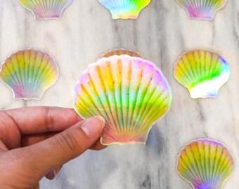 Holographic seashell sticker - beach sticker - summer sticker - spring sticker